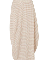 Jil Sander Checked Crepon Midi Skirt