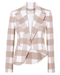 Altuzarra Lazio Asymmetric Gingham Wool Blend Twill Blazer