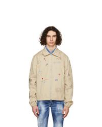 DSQUARED2 Beige Scribbles Zip Jacket