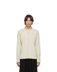 Homme Plissé Issey Miyake Off White Pleats Tailored Stand Collar Jacket