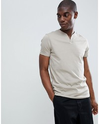 ASOS DESIGN T Shirt With Notch Neck In Beige