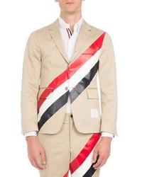Thom Browne Tricolor Striped Three Button Blazer