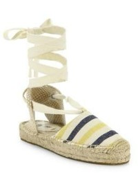 Soludos Striped Canvas Lace Up Espadrilles