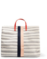 Clare Vivier Clare V Simple Textured Leather Trimmed Striped Canvas Tote Cream