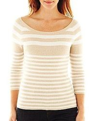 Liz Claiborne 34 Sleeve Striped Ribbed Sweater