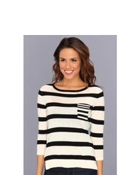 Autumn Cashmere Three Quarter Striped Crew Sweater Sweater Parchtblack