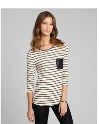 Romeo & Juliet Couture Beige And Black Stripe Jersey And Faux Leather Pocket Top