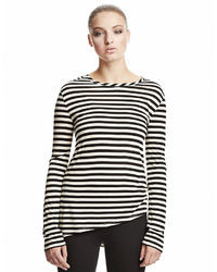 DKNY Striped Asymmetrical Long Sleeve Tee