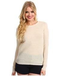 Halston Heritage Long Sleeve Ottoman Stitch Crewneck Sweater Sweater