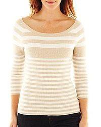 Liz Claiborne 34 Sleeve Striped Ribbed Sweater