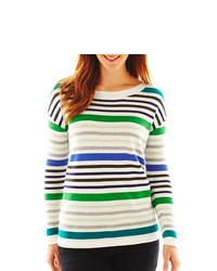 Liz Claiborne Long Sleeve Ballet Neck Striped Sweater