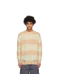 Acne Studios Yellow And Beige Block Stripe Sweater
