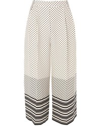Topshop Spot Stripe Crop Wide Leg Trousers