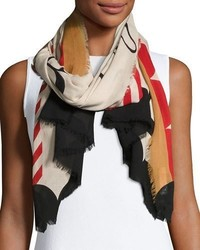 Burberry Lightweight Patterned Logo Scarf Stone