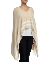 Minnie Rose Cashmere Striped Snap Front Poncho Sandwhite