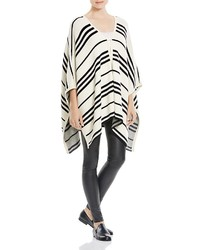 Rlyn striped open front poncho medium 340231