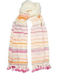 Beige Horizontal Striped Scarf