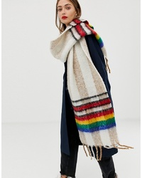 ASOS DESIGN Oversized Long Fluffy Check Scarf With Border