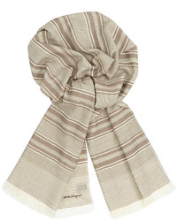 Striped wool scarf beige medium 182231