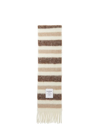 Acne Studios White And Beige Alpaca Striped Scarf