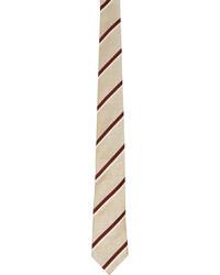 Brunello Cucinelli Beige Burgundy Striped Tie