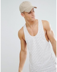 Bellfield Longline Vest In Stripe With Curved Hem