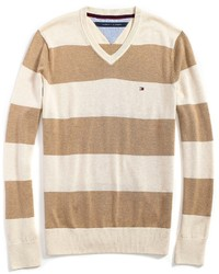 Tommy Hilfiger Classic Rugby Stripe V Neck Sweater
