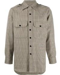 Beige Houndstooth Long Sleeve Shirt