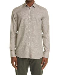 Canali Slim Fit Houndstooth Button Up Shirt
