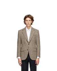 Beige Houndstooth Wool Blazer