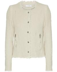 Frayed cotton tweed jacket ecru medium 1196571