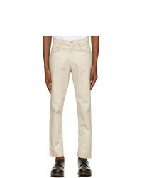 Daniel W. Fletcher Beige Slim Contrast Stitch Jeans