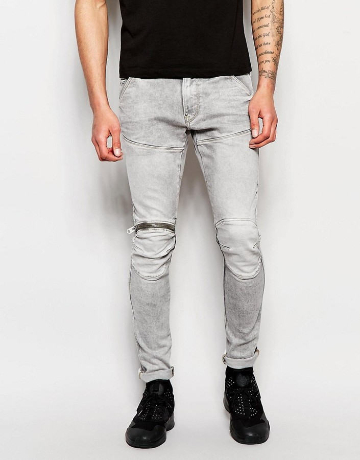 info for c0f40 9d5b5 $211, G Star G Star Jeans Elwood 5620 3d Zip Knee Super Slim Stretch Light  Aged Gray