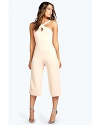 Boohoo Claire Cross Strap Culotte Jumpsuit