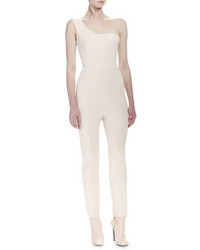 Alexander McQueen One Shoulder Fitted Jumpsuit Nude
