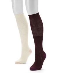 UNIONBAY 2 Pk Ribbed Knee High Socks