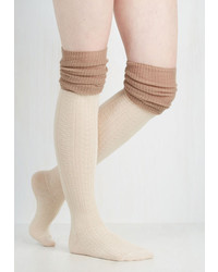 Look By M Knitting Pretty Thigh Highs In Ivory And Taupe