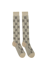 Gucci Off White And Gold Lame Gg Socks