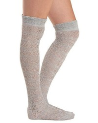 Charlotte Russe Pointelle Ruffle Over The Knee Socks