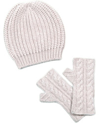 Chunky knit cashmere blend beanie fingerless mittens set medium 3661843