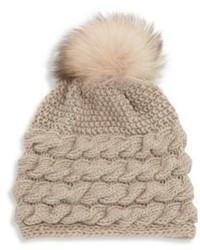 Inverni Fox Fur Pom Pom Braided Cashmere Beanie