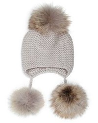 Inverni Triple Fox Fur Pom Pom Cashmere Hat