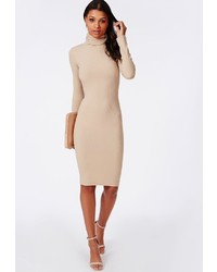 Missguided ribbed roll neck long sleeve bodycon dress camel medium 208592