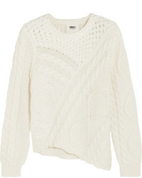 MM6 MAISON MARGIELA Asymmetric Cable Knit Cotton Sweater Cream