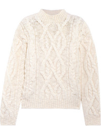 Acne Studios Edyta Cable Knit Wool Sweater Cream