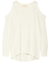 MICHAEL Michael Kors Michl Michl Kors Cutout Cable Knit Sweater Ecru