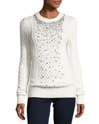 MICHAEL Michael Kors Michl Michl Kors Embellished Cable Knit Crewneck Sweater Ecru