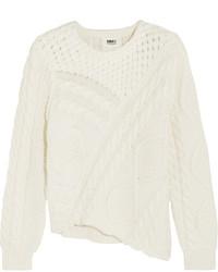 MM6 MAISON MARGIELA Asymmetric Cable Knit Cotton Sweater Cream