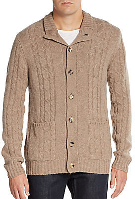 Saks Fifth Avenue Cashmere Cable Knit Cardigan   Where to buy ...