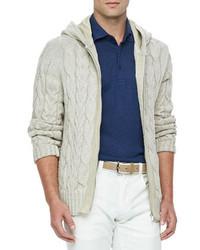 Linen blend cable knit jacket canvas beige medium 119992